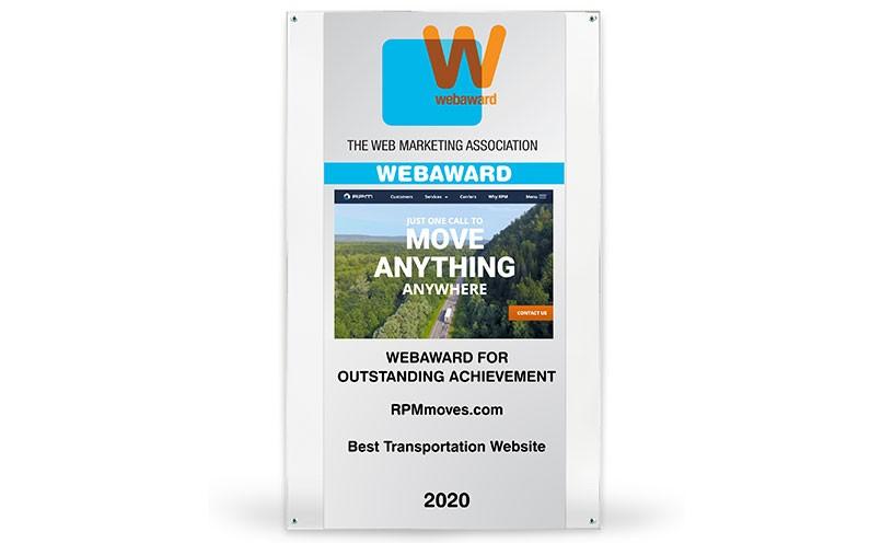 Web Marketing Association Awards RPMmoves.com 2020 Best Transportation Website